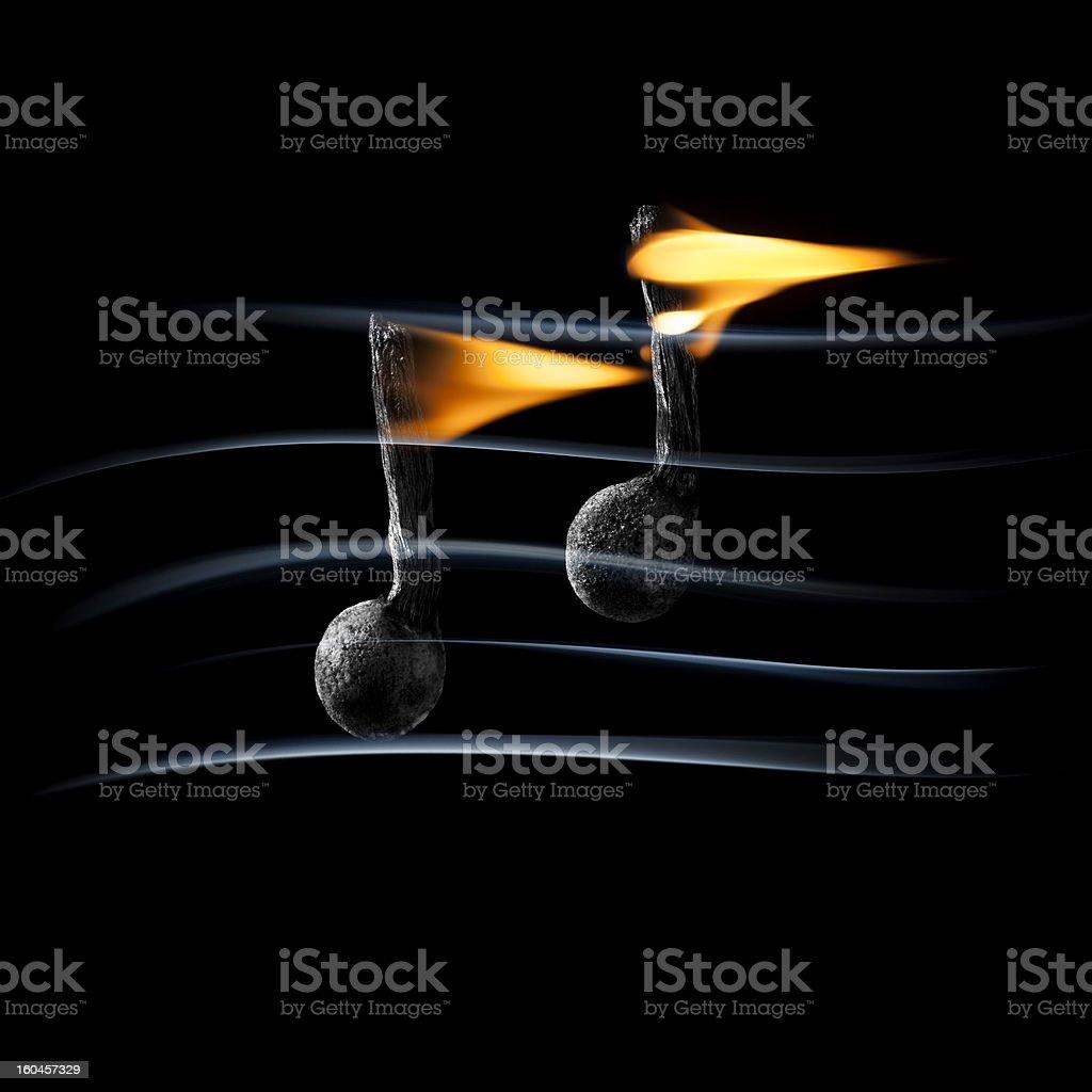 Hot Music - Burning Fire Match Smoke royalty-free stock photo