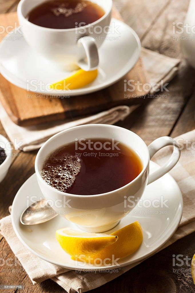 Hot Organic Black Tea stock photo