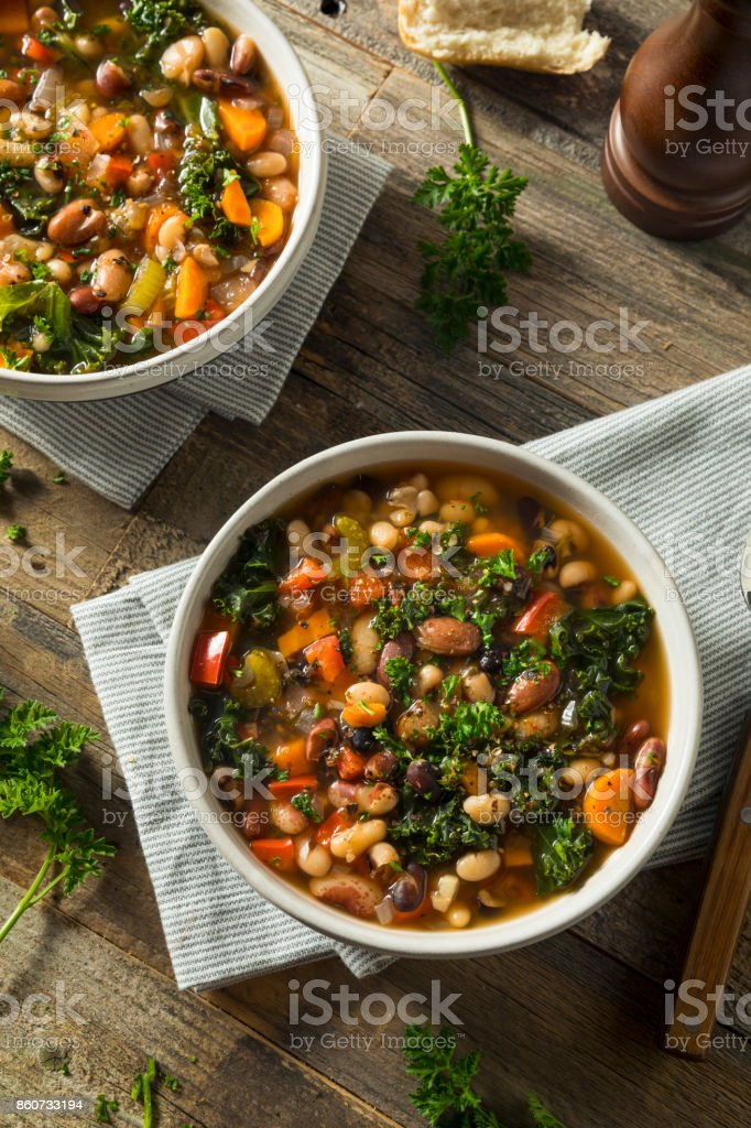Hot Organic Homemade 10 Bean Soup stock photo
