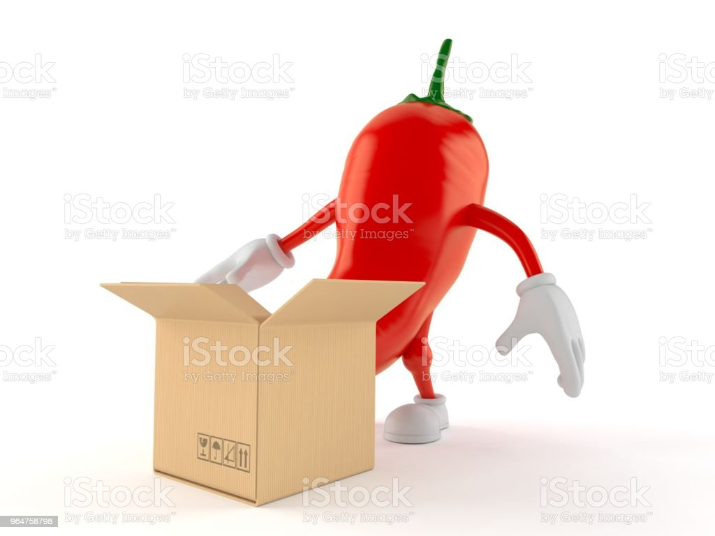 Hot paprika character with open cardboard box royalty-free stock photo