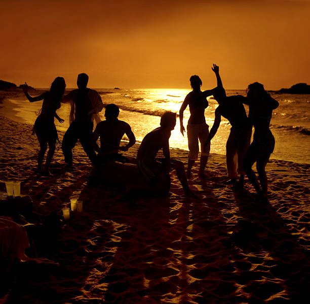 hot party on the beach stock photo