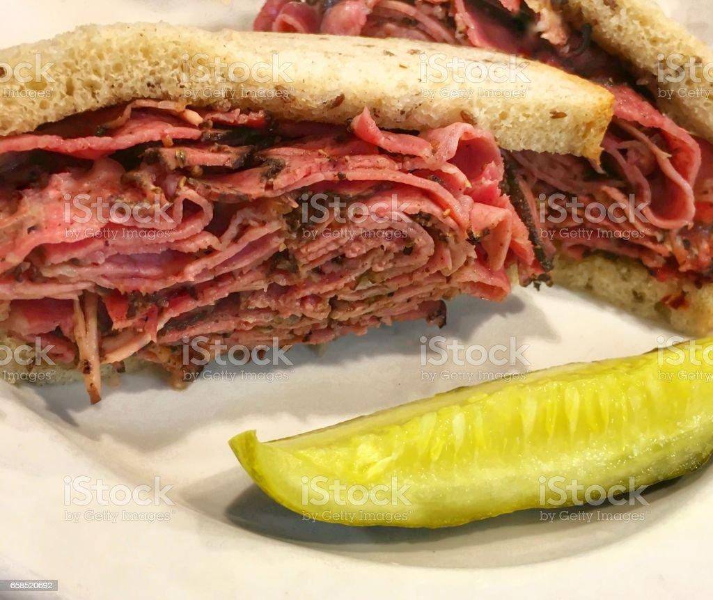 Hot Pastrami Sandwich stock photo