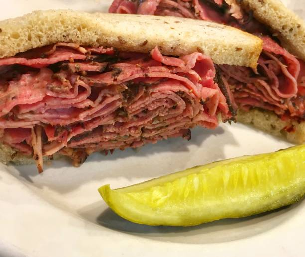 hot pastrami sandwich - pastrami stock pictures, royalty-free photos & images