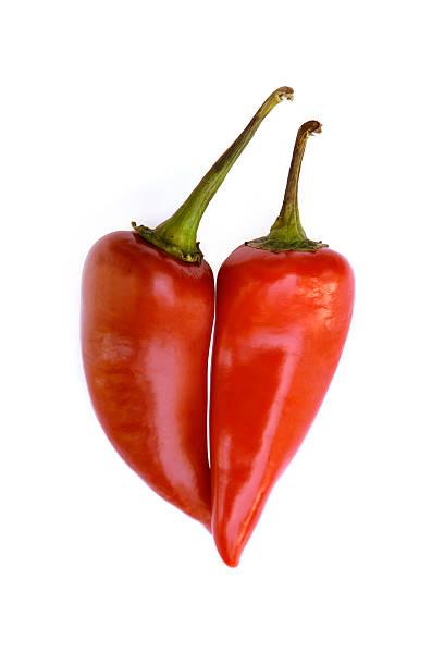 Hot Pepper Love on white stock photo