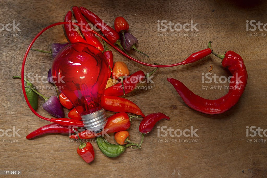 Hot Pepper powering a lightbulb royalty-free stock photo