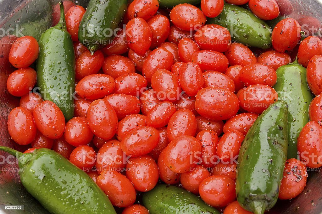 Hot Peppers and Cherry Tomatoes royalty-free stock photo
