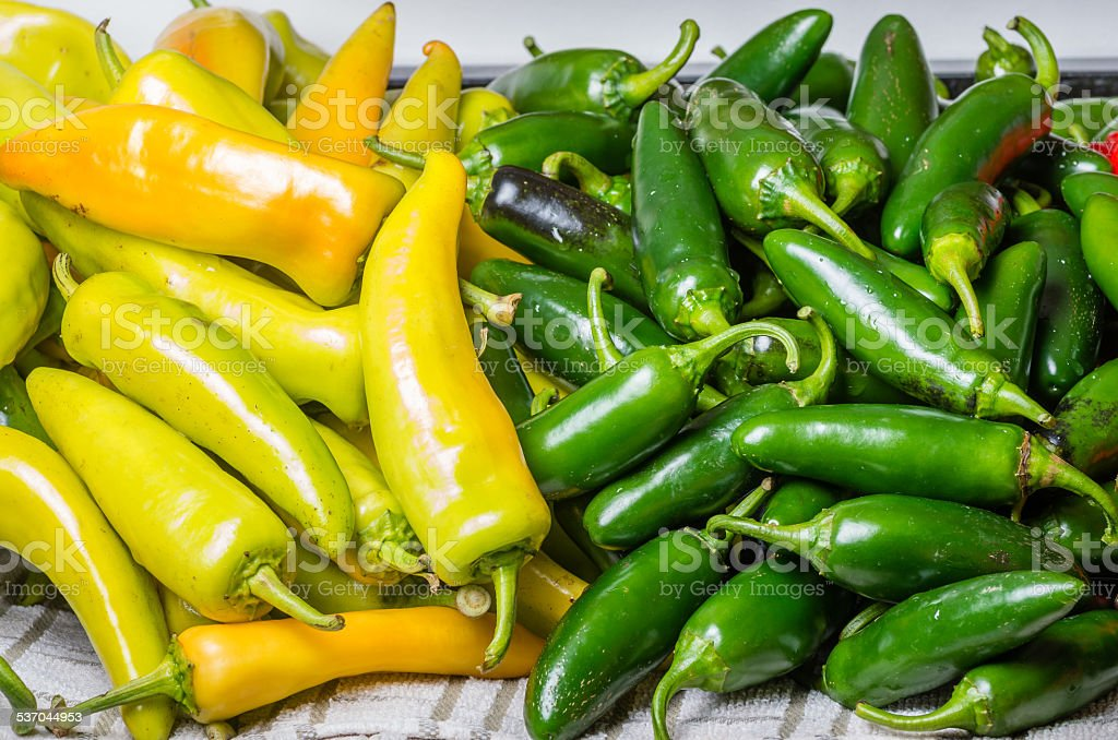 Hot peppers on display ready to use stock photo