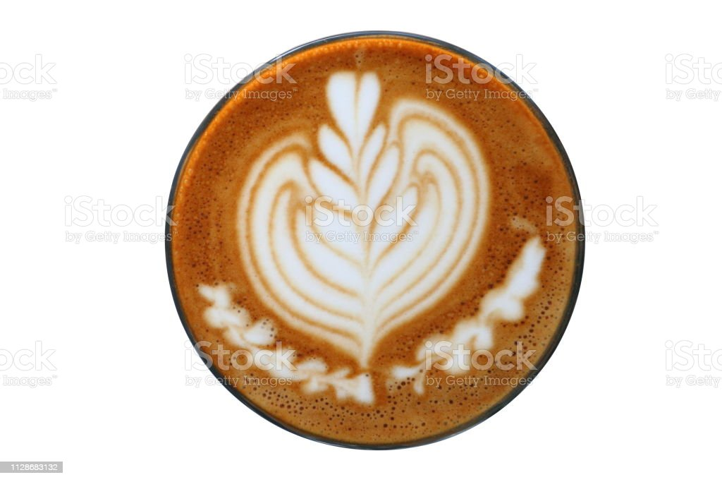 Hot Piccolo Latte Art With Tulip Pattern On Top Isolated ...