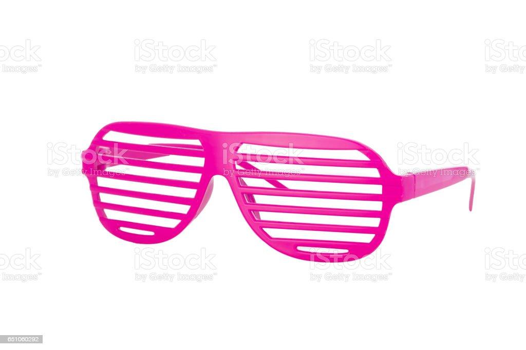 Hot pink 80er Schlitz Gläser isoliert auf weißem Hintergrund – Foto