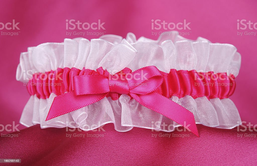 Hot Pink And White Garter stock photo