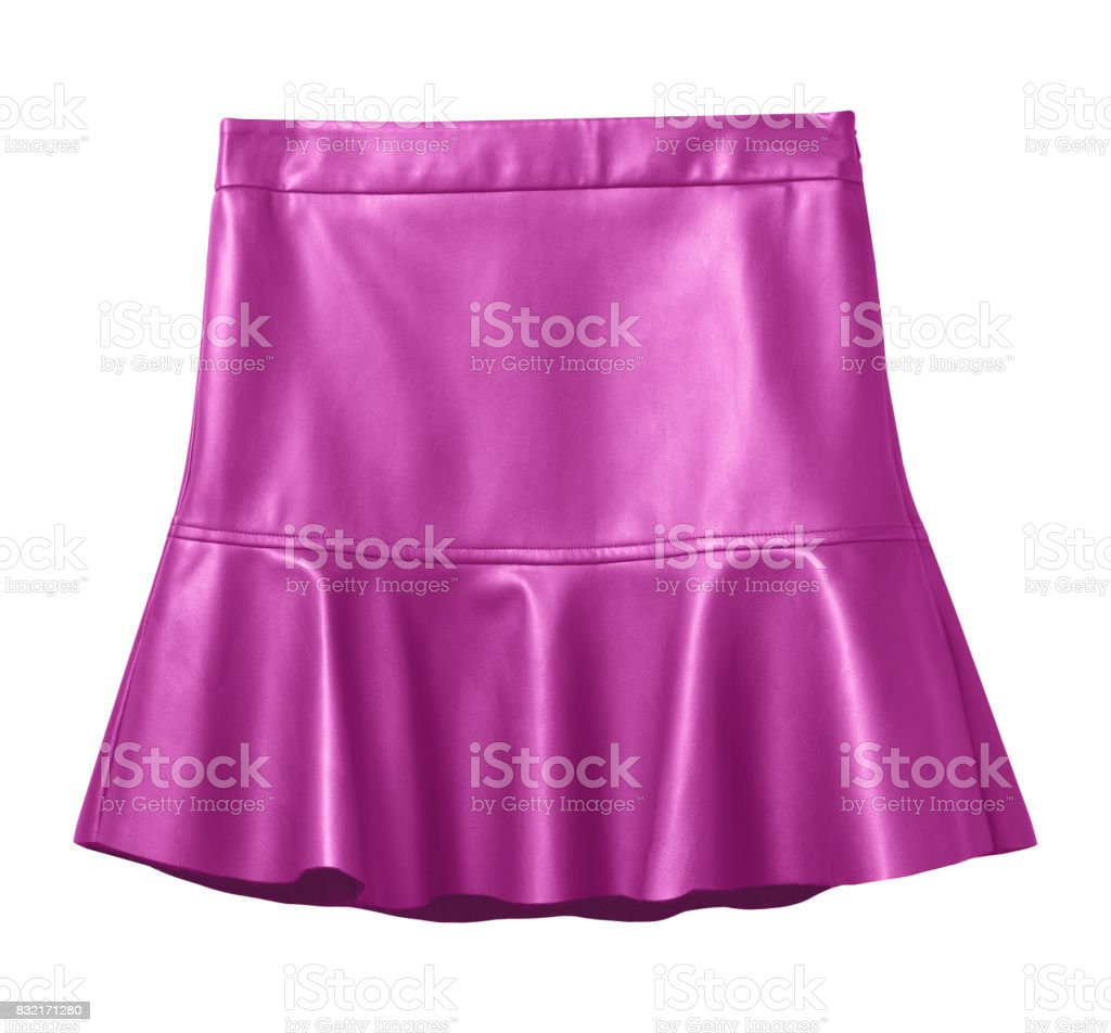 Hot pink leather skirt with flounce isolated on white stock photo
