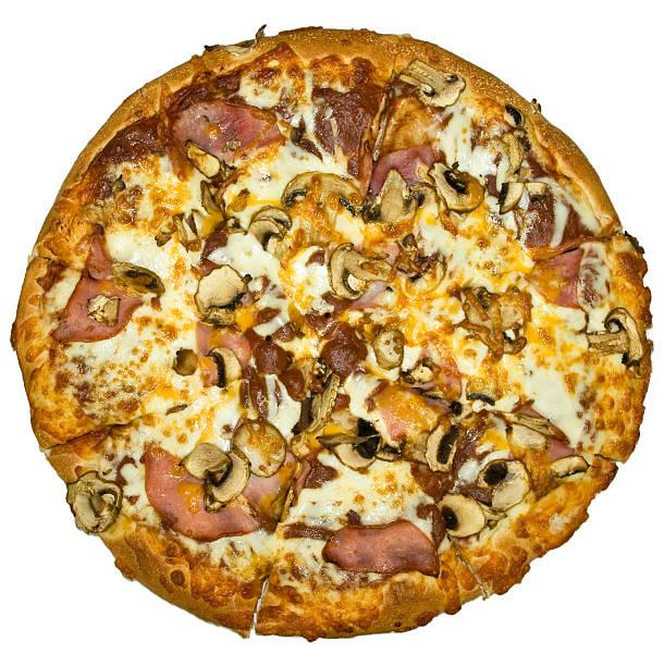 hot pizza - gebackene champignons stock-fotos und bilder