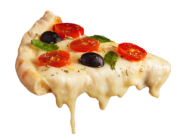 hot pizza slice - smelten stockfoto's en -beelden