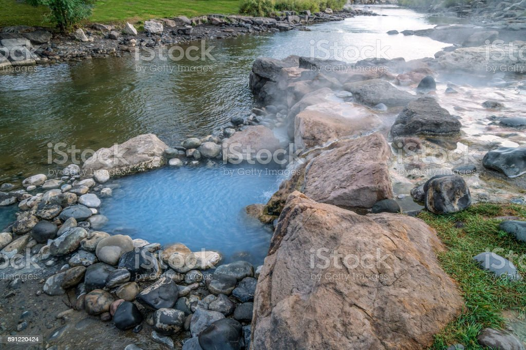 Hot pool by the San Juan River stock photo