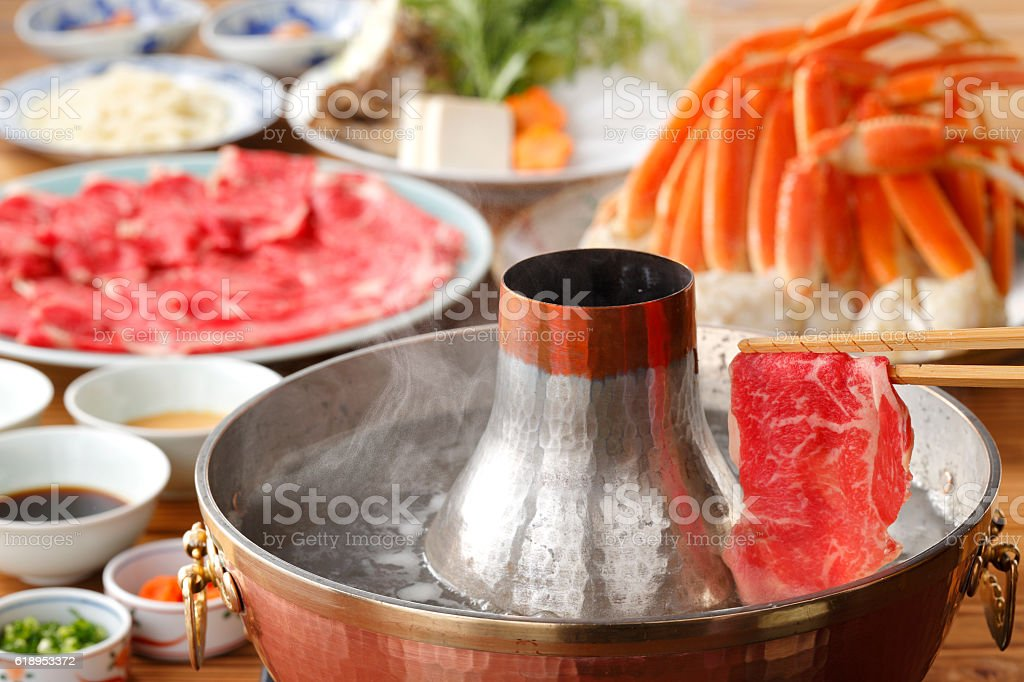 Hot pot of fresh beef and crab in Thai style stock photo