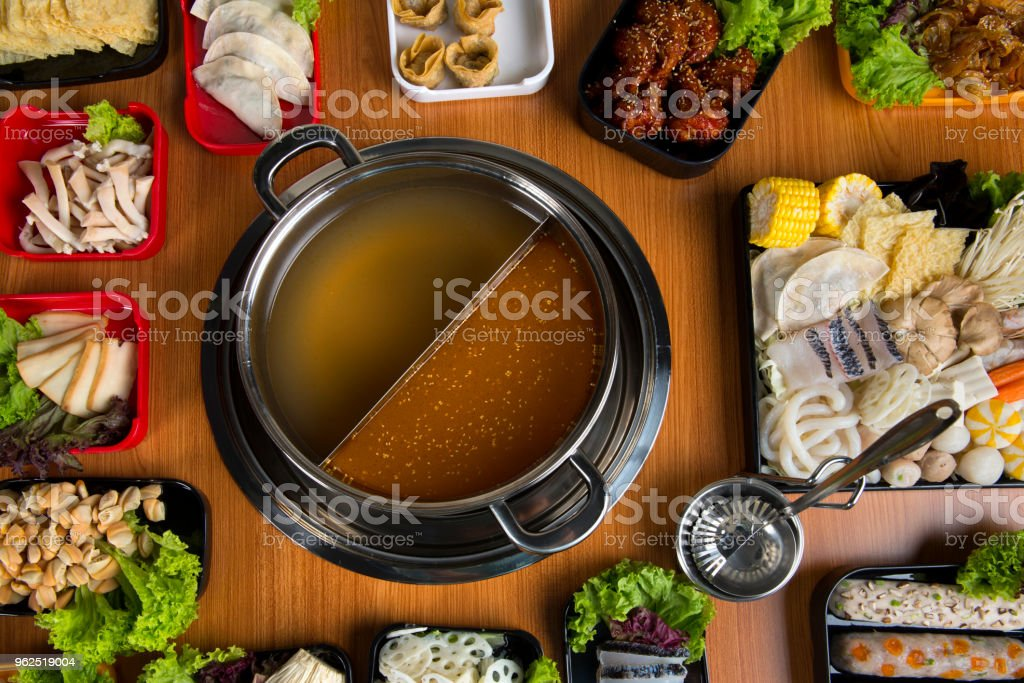 hot pot with double flavour flat lay view - Royalty-free Asia Stock Photo