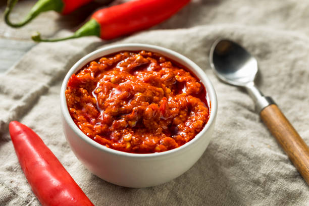 Hot Red Calabrian Pepper Sauce Spread stock photo