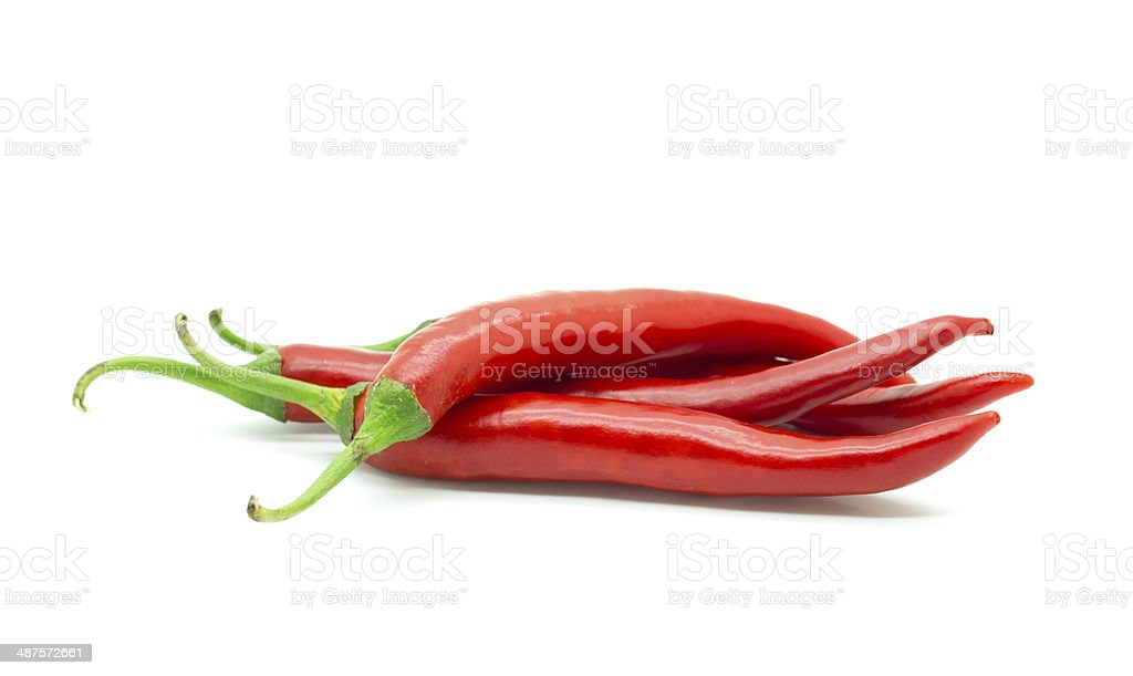 Hot red chili or chilli pepper isolated. royalty-free stock photo