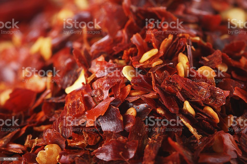 Hot Red Chilli Chillies pepper crushed, Background Shallow DOF royalty-free stock photo