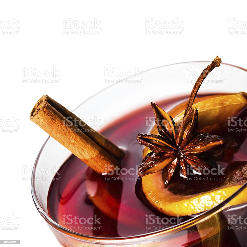 Hot red mulled wine for Christmas  and winter stock photo