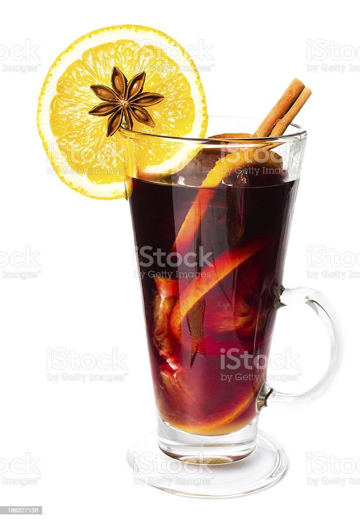 Hot red mulled wine for winter and Christmas stock photo