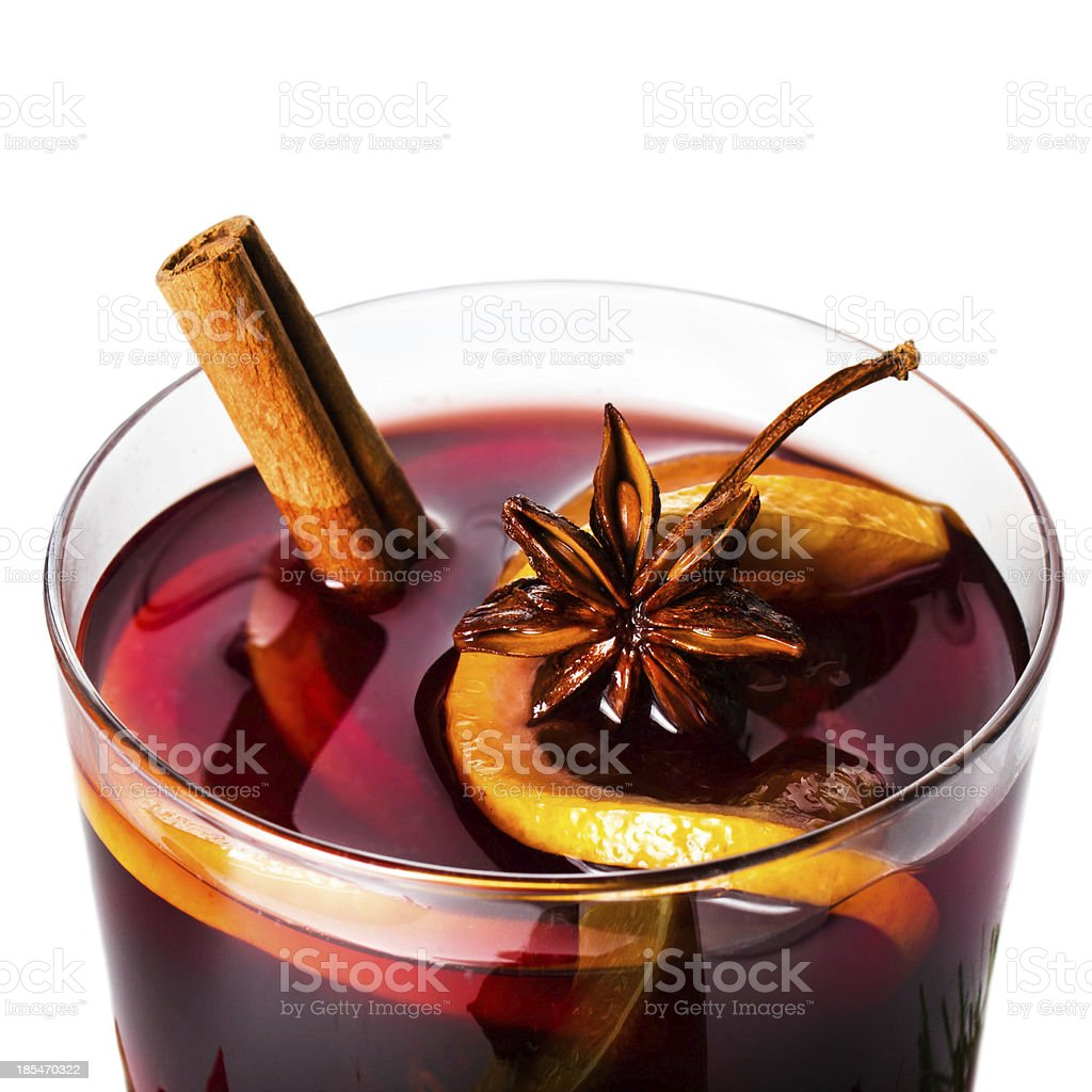 Hot red mulled wine for winter and Christmas with orange stock photo