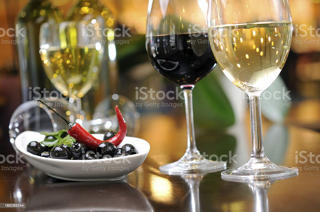 Hot red pepper with olives and wine royalty-free stock photo