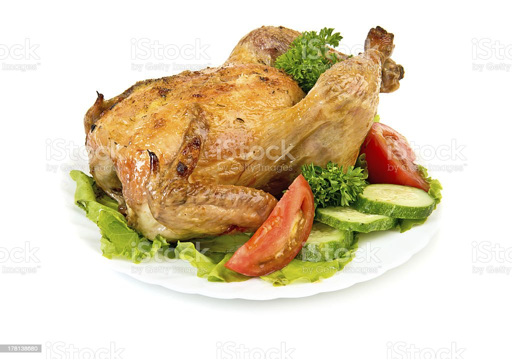 Hot roasted chicken royalty-free stock photo