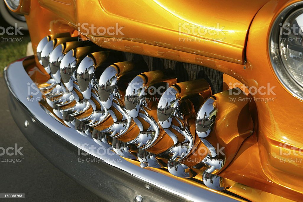 Hot rod chorme gril and bumper stock photo