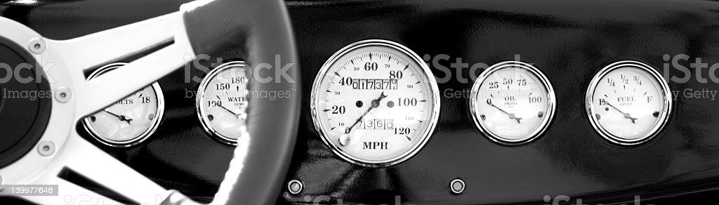 hot rod dashboard royalty-free stock photo