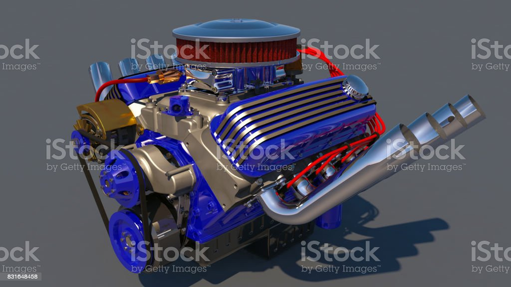 Hot rod engine. 3D render stock photo
