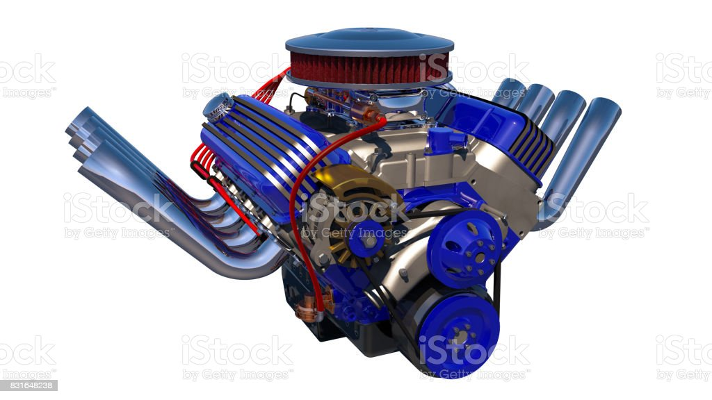 Hot rod engine isolated. 3D render stock photo