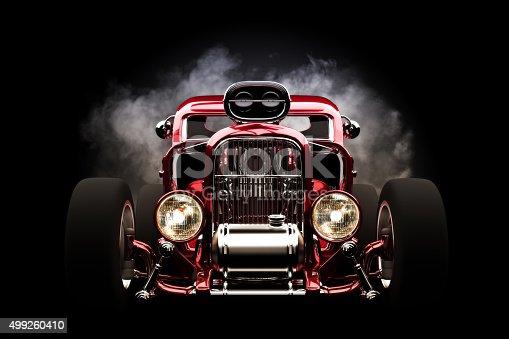 Hot rod with smoke background, 3d model scene