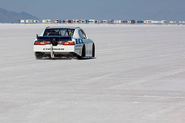 Hot rod racing car during the World of Speed, Bonneville Bonneville Salt Flats, UT, USA - September 8, 2012: Hot rod racing car during the World of Speed 2012 at Bonneville Salt Flats Recreation Area near Salt Lake City. USA bonneville salt flats stock pictures, royalty-free photos & images