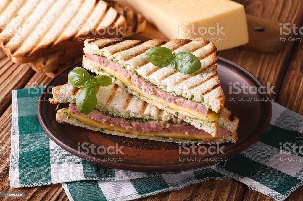 Hot sandwich with ham, cheese closeup on plate. horizontal stock photo