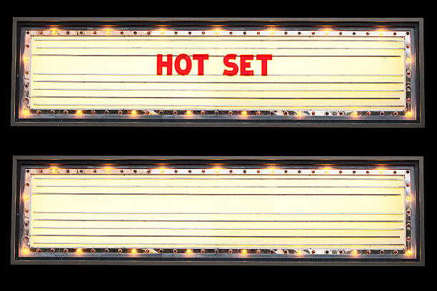 Hot Set Marquee Marquee blank and with Hot Set text. theater marquee commercial sign stock pictures, royalty-free photos & images
