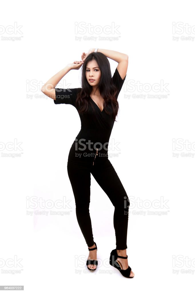 hot sexy asian, fashion girl women in black outfit t-shirt and jeans on isolated white background - Royalty-free Adult Stock Photo