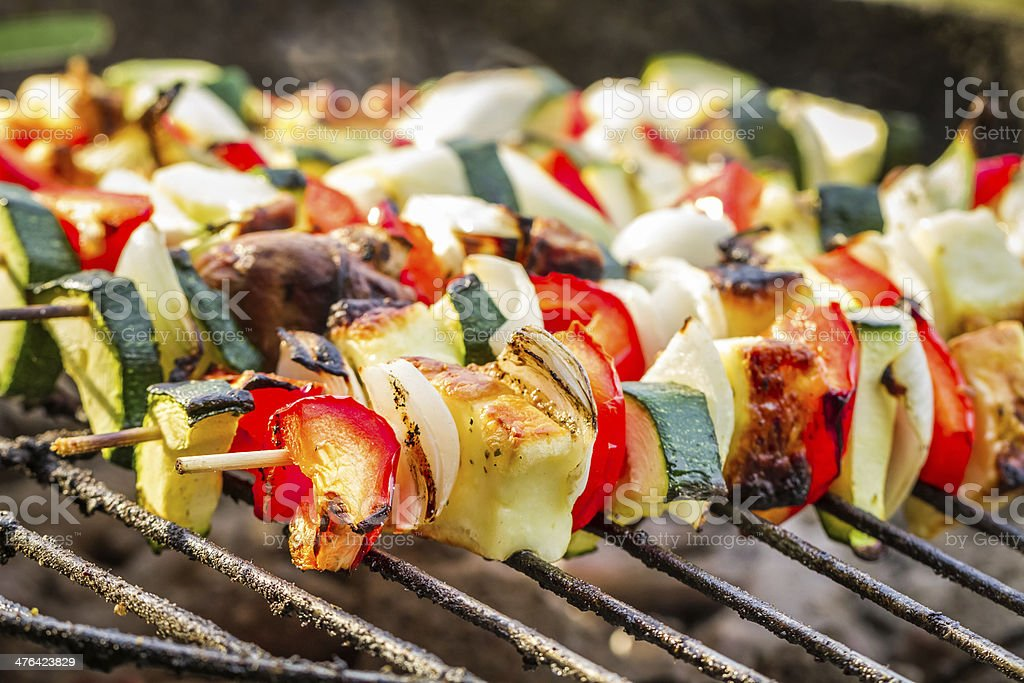 Hot skewers on the grate royalty-free stock photo