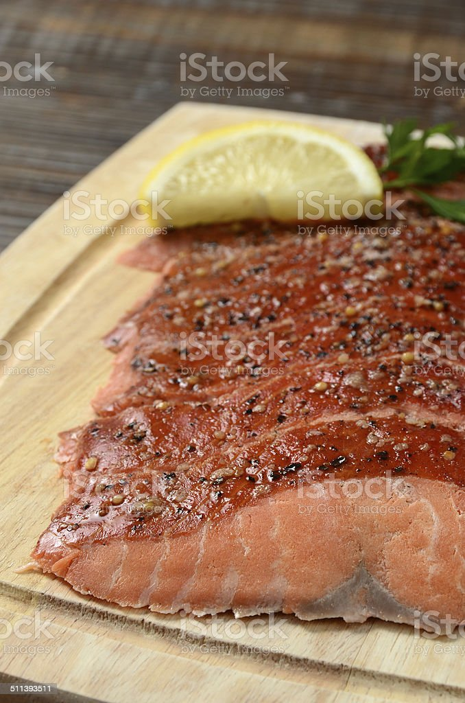 Hot Smoked Salmon stock photo