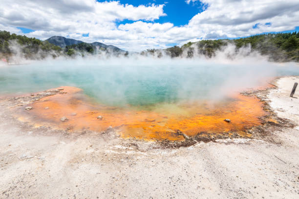 hot sparkling lake in New Zealand stock photo