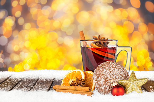 istock hot spiced mulled wine on wooden snowy planks 625663156