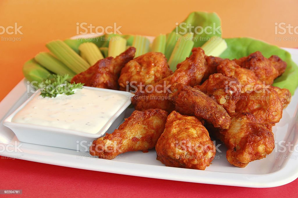 Hot Spicy Buffalo Wings stock photo