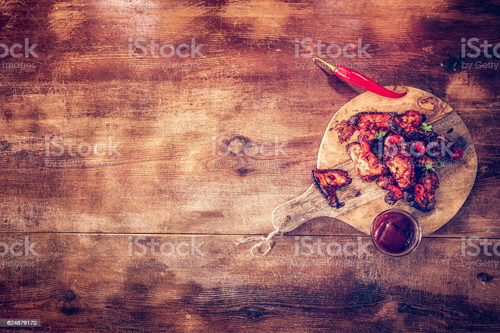 Hot Spicy Chicken Wings stock photo