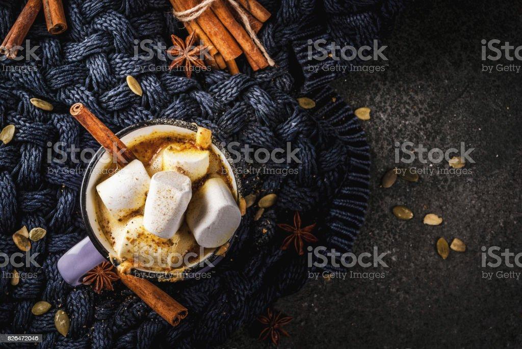 Hot spicy pumpkin white chocolate stock photo