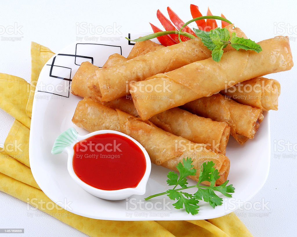 Hot & Spicy Rolls with Ketchup royalty-free stock photo