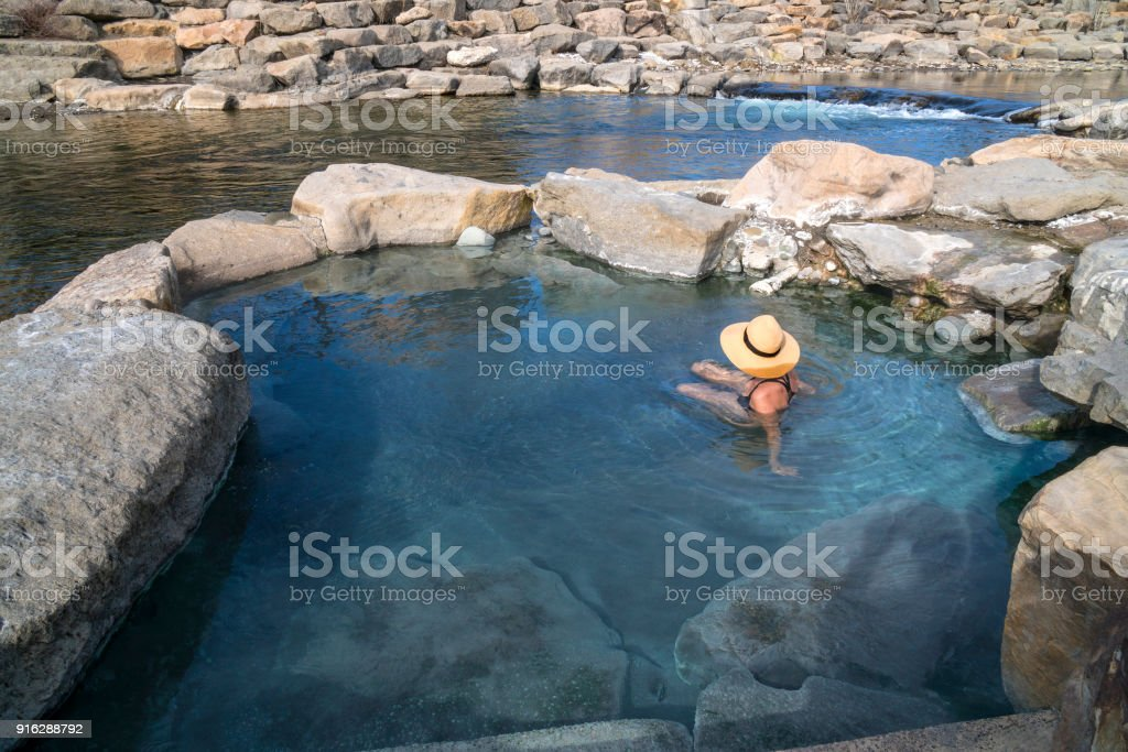 Hot spring river pool stock photo