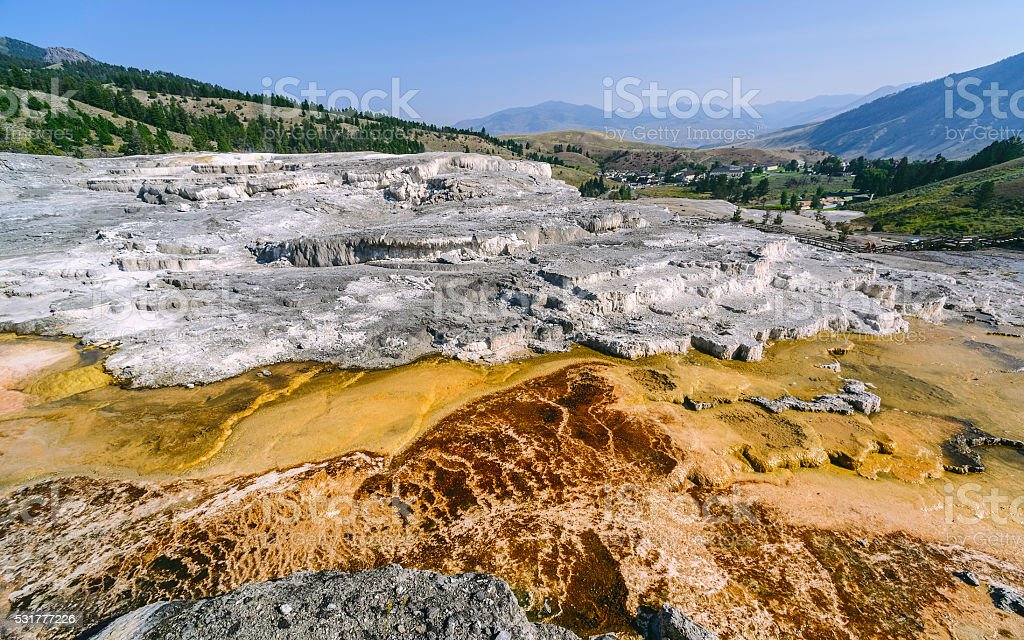 Hot springs and deposits, Mammoth, Yellowstone, Wyoming, USA. stock photo