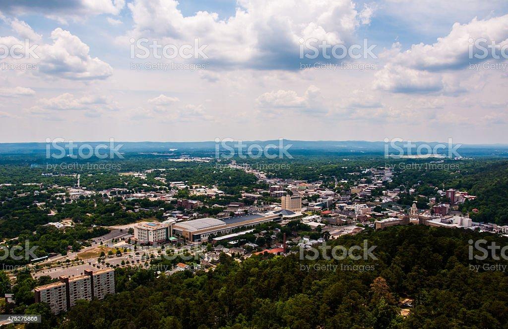 Hot Springs Arkansas overlook Ozark Horizon Far Above Town stock photo