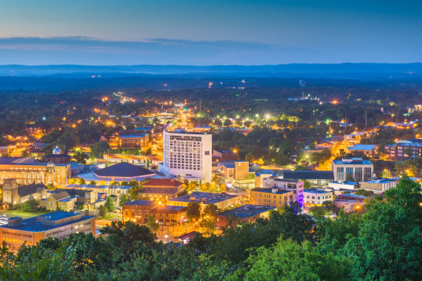 Hot Springs, Arkansas, USA Town Skyline Hot Springs, Arkansas, USA town skyline from above at dawn. hot spring stock pictures, royalty-free photos & images