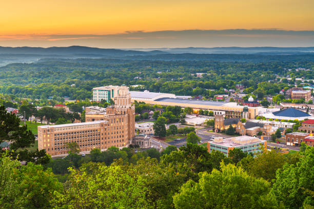 Hot Springs, Arkansas, USA town skyline stock photo